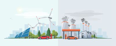 Electric car versus fossil fuel energy source Stock Images