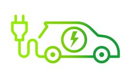 Free Electric Car With Plug Icon Symbol, Green Hybrid Vehicles Charging Point Logotype, Eco Friendly Vehicle Concept Royalty Free Stock Photos - 195808798