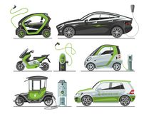 Electric Car With Solar Panels Eco Transport Vector Illustration Automobile Socket Electrical Car Battery Charger. Royalty Free Stock Photos