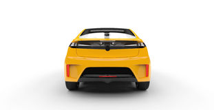Electric Car Yellow - Back View Stock Photo