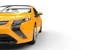 Electric Car Yellow Side - Cut View Royalty Free Stock Image