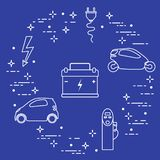 Electric cars, battery, charging station, electrical safety sign, cable, electrical plug. New transport eco technologies. Vector. Electric cars, battery stock illustration