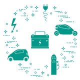 Electric cars, battery, charging station, electrical safety sign, cable, electrical plug. New transport eco technologies. Vector. Electric cars, battery royalty free illustration
