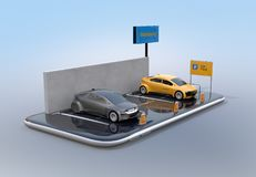 Electric cars with car sharing billboard on smartphone. White background. Car sharing concept. 3D rendering image stock illustration
