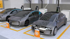 Electric cars in car sharing parking lot. Autonomous cars` sharing business concept. 3D rendering animation