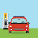 Electric cars charging at the charger station. Royalty Free Stock Images