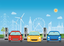 Electric cars charging at the charger station. Royalty Free Stock Photos