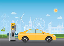 Electric cars charging at the charger station. Stock Images