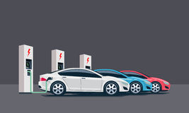Electric Cars Charging at the Charging Station Royalty Free Stock Photography