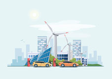 Electric cars charging eco city urban theme Royalty Free Stock Image