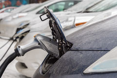 Electric cars charging at recharg Stock Photography