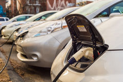 Electric cars charging at recharging station. Montreal, CA, March 21th 2016. Electric cars charging at recharging station Stock Image