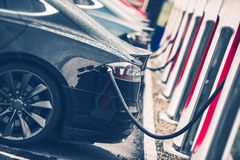 Electric Cars Charging Station Stock Photo