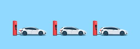 Electric Cars Charging at the Charging Station. Flat vector illustration of white electric cars parking on the street and charging at the charger stations Stock Photo