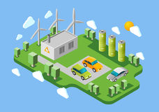 Electric cars charging station isometric banner Royalty Free Stock Photos