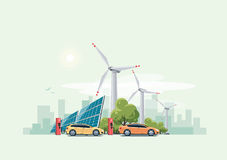 Electric cars charging urban theme Royalty Free Stock Photos