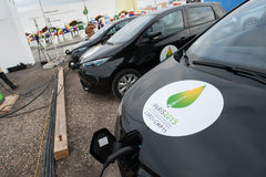 Electric cars at climate conference Stock Photo