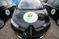 Electric cars at climate conference Royalty Free Stock Photo