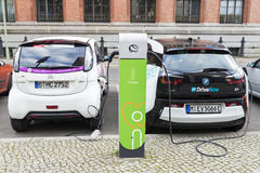 Electric cars recharging the batteries in Berlin, Germany Royalty Free Stock Photo