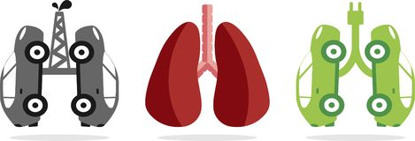 Cars that simulate healthy and sick lungs stock illustration