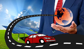 Electric cars with solar energy Royalty Free Stock Photo