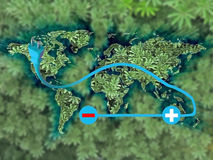 Electric cars on World Map, Concept Royalty Free Stock Photo