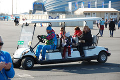 Electric cart at XXII Winter Olympic Games Sochi 2014 Royalty Free Stock Images