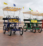 Electric Carts. Two electric carts cars, for tourists to sightsee in Saint Petersburg, Florida at the pier using green energy Royalty Free Stock Image