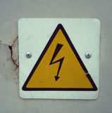 Electric caution sign Stock Photo
