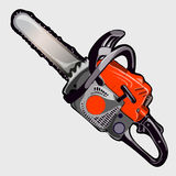 Electric chainsaw with red handle, vector closeup. Electric chainsaw with red handle, work tool woodworker Royalty Free Stock Images