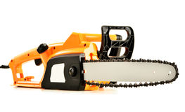 Electric chainsaw on white Stock Image