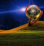 Electric Charge. In Surreal Scene royalty free illustration