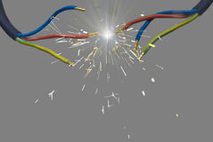 Electric charge - spark between two wires Stock Photo