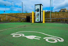 Electric charging station for cars. In a car parking in UK Royalty Free Stock Image