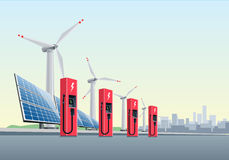 Electric Charging Station in front of the Windmills and Solar Panels. Vector illustration of a red electric charging stations in front of the windmills and solar Stock Photography