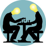 Electric chess game silhouette Royalty Free Stock Images