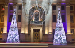 Electric Christmas trees, Moscow Stock Images