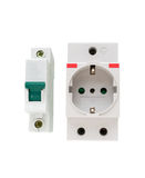 Electric circuit breaker and socket, power outlet. stock image