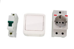 Electric circuit breaker and socket, power outlet royalty free stock images