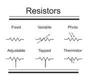 Electric circuit elements. resistors Stock Image