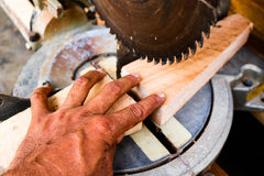 Electric circular saw cutting wood. Stock Images