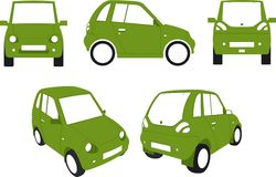Electric city car. Vector illustration of Environmentally friendly, green electric powered city car Royalty Free Stock Photos