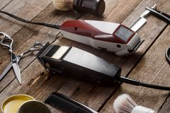 Electric clippers and brushes royalty free stock images