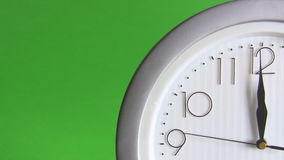 Electric clock isolated on green. View of a quarter of electric wall clock with arabic numerals isolated on green background ticking last 15 fifteen seconds to stock video footage