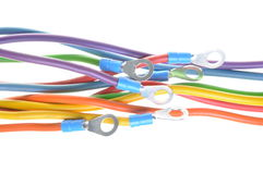 Electric colored wires with terminals. Isolated on white background Stock Image