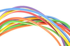 Electric colored wires. Used in electrical and computer network Royalty Free Stock Images