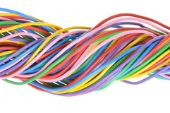 Electric colored wires. Used in electrical and computer networks Royalty Free Stock Photography