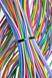 Electric colored wires. Used in electrical and computer networks Stock Photos