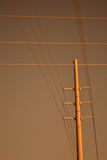 Electric Communication Pole and Lines Stock Photos