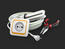 Electric components, Electrical cable, Socket and pliers. 3d illustration isolated black.  Stock Photography